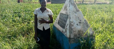 Martha during a visit at the Omukama Kabalega site of capture by the British Colonial Troops